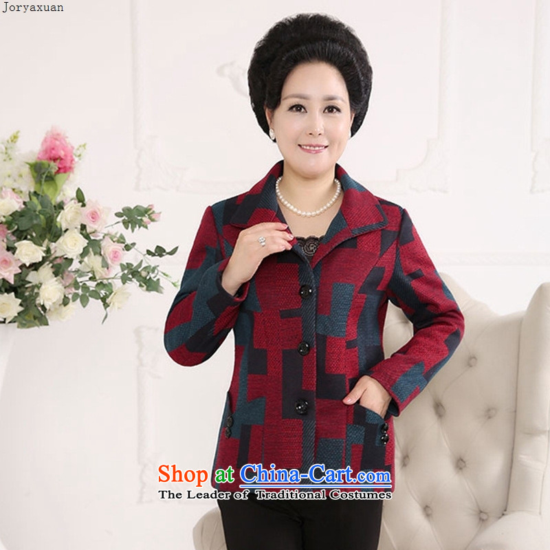Web soft trappings of older women wear wool coat large middle-aged about replacing a thickened mother coat autumn and winter Red Grid�XL