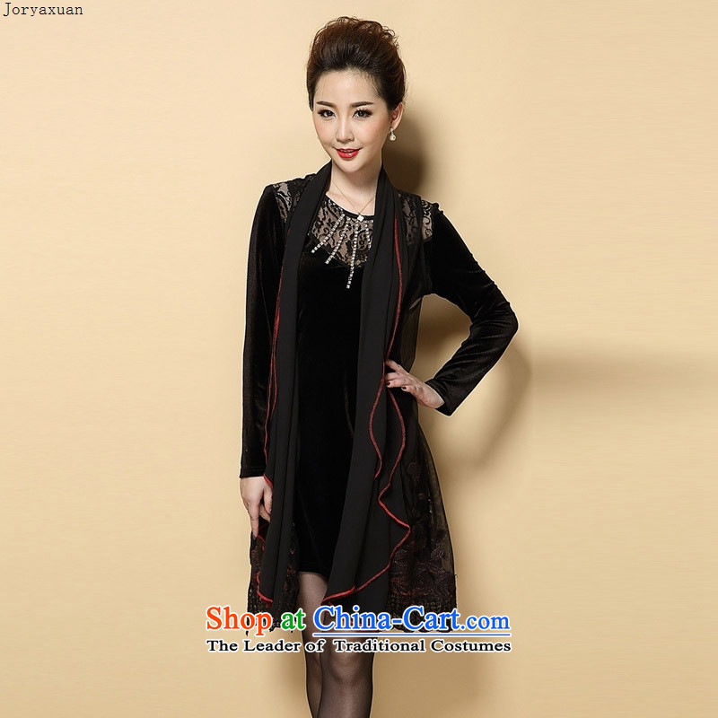 Web soft clothes 2015 autumn and winter in the new large older mother with two-piece very casual in long-sleeved long skirt female black�L