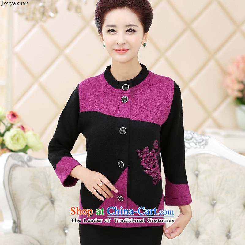 Web soft trappings of older women Fall_Winter Collections gross jacket mother load? knitting cardigan long-sleeved sweater older persons Thick Purple�0