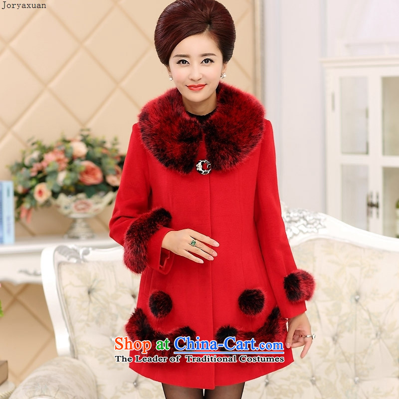 Soft clothes new Web load mother coat in gross? long in autumn and winter coats of older gross?? for sub-Nagymaros fur red燲L