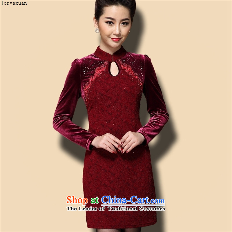 Web soft clothes autumn Women's clothes temperament velvet Kim Choo long-sleeved autumn and winter Sau San video wedding mother load thin Violet�L