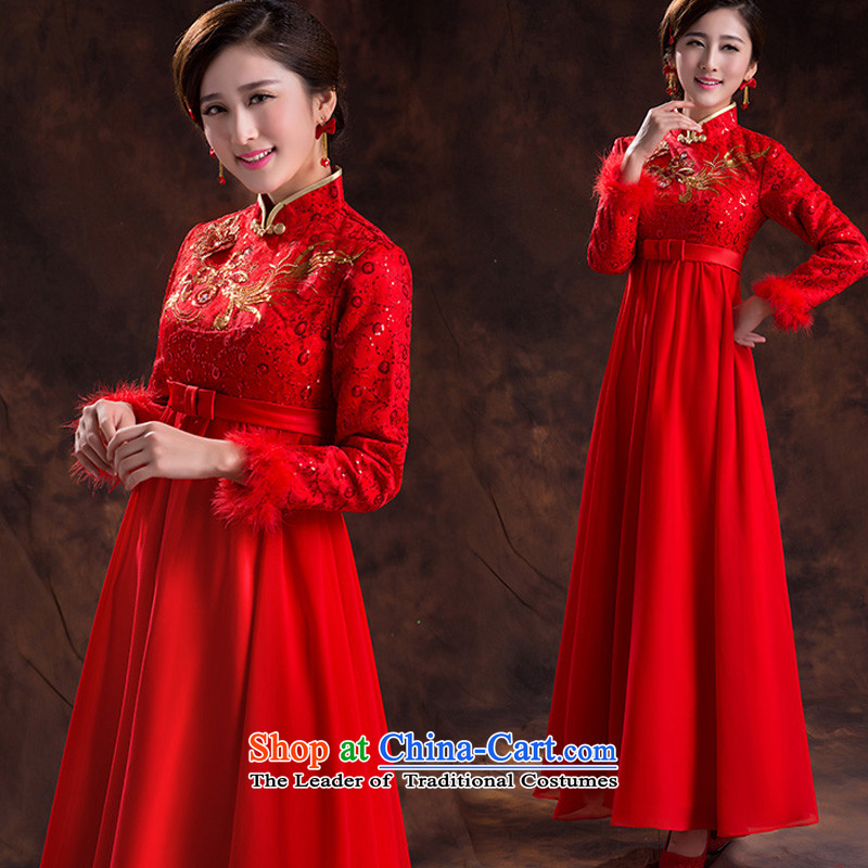 The Korean version of the large Top Loin of winter-style qipao_ Improved services cotton winter toasting champagne bridal dresses 2015 New Red燬