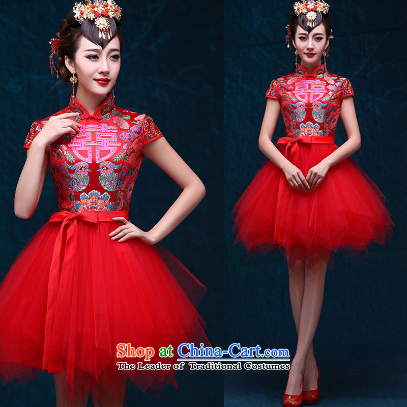 2015 bride wedding dress chinese red retro improved qipao bows services bon bon skirt the new summer short skirt red S