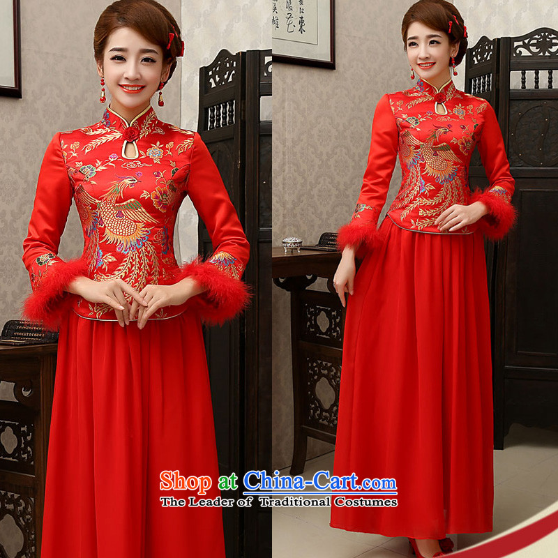 The new 2015 wedding dresses marriages CHINESE CHEONGSAM red long-serving drink wo service of autumn and winter female red winter)�S