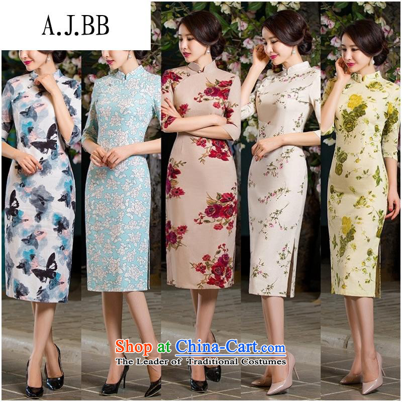 And involved summer clothing _2015 Autumn Stylish retro Sau San Graphics Improvement linen long thin_ cuff cheongsam dress the huangmei燬