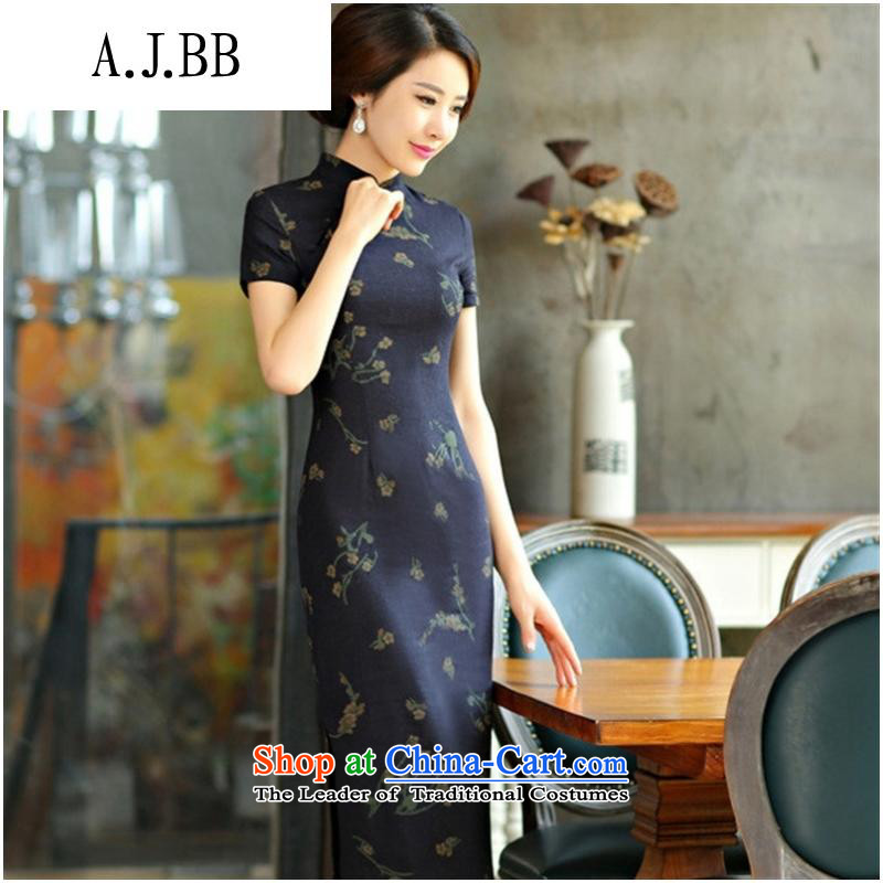 The Secretary for Health related shops of the spring and summer of 2015 _ cheongsam decorated in video thin large short-sleeved improved long qipao retro Linen Dress Samui Orchid Samui Blue聽M