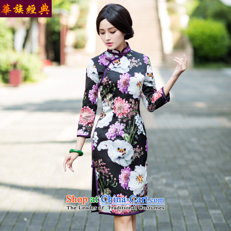 Chinese New Year 2015 classic ethnic Chinese Antique long-sleeved cheongsam dress autumn improved stylish qipao skirt suits Sau San XXL