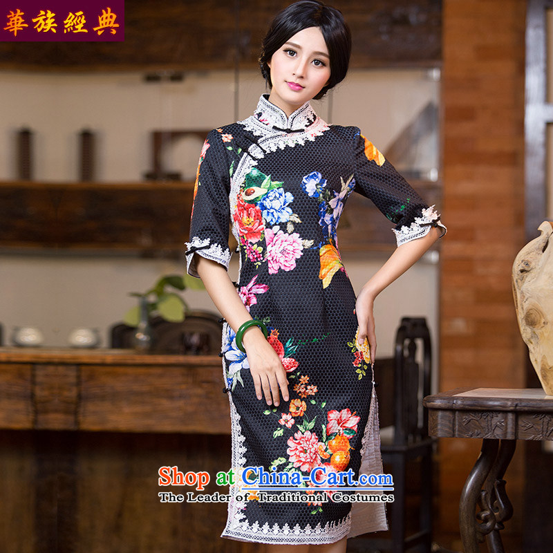Chinese New Year 2015 classic ethnic Chinese qipao gown autumn and winter dresses and Stylish retro in improved cheongsam dress suits cuff L