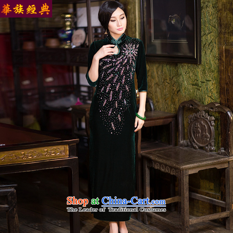 China Ethnic Chinese Classical Chinese qipao cuff Kim velvet gown in autumn and winter, long skirt large stylish improved suit燣