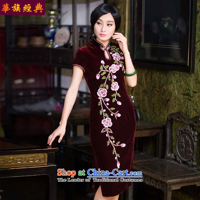 Chinese New Year 2015 classic-chiu of Chinese qipao gown Kim velvet dresses and Stylish retro Sau San abounds improved燲XXL