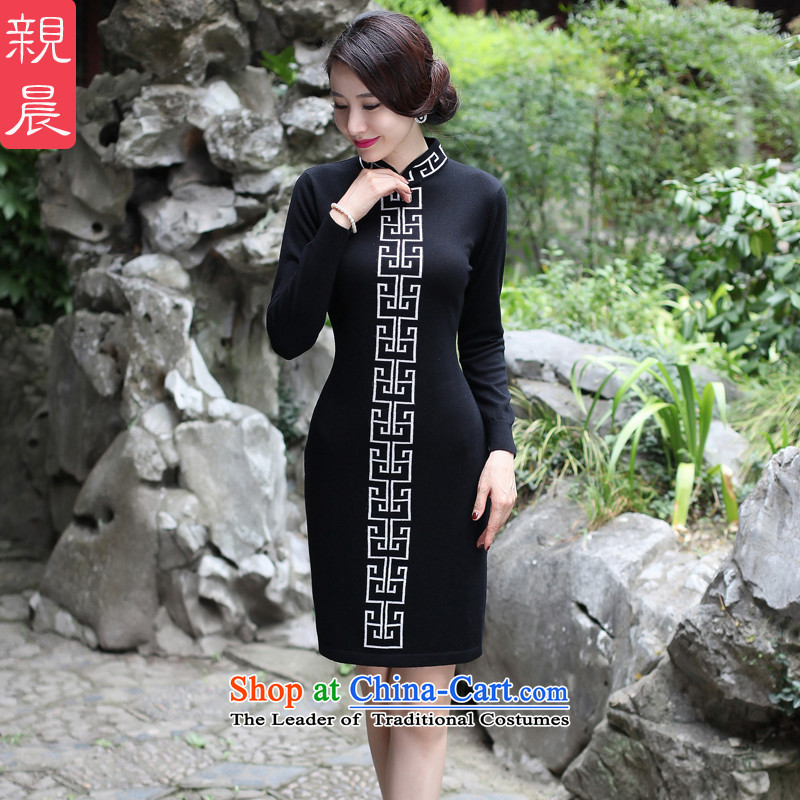 2015 Fall_Winter Collections cheongsam dress new improved stylish woolen knitted long-sleeved daily retro dresses women Sau San black�L