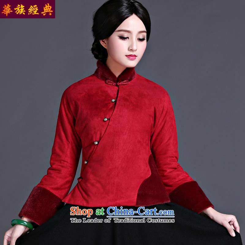 2015 new improved stylish Tang jackets of ethnic Chinese cotton-chun Ms. winter clothes thick deep red retro�XL