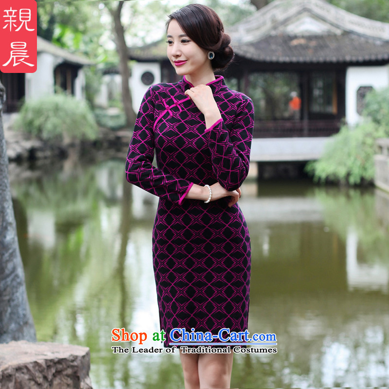 2015 Fall_Winter Collections new cheongsam dress Stylish retro woolen knitted long-sleeved short of Sau San dresses improved female Black + Red�L