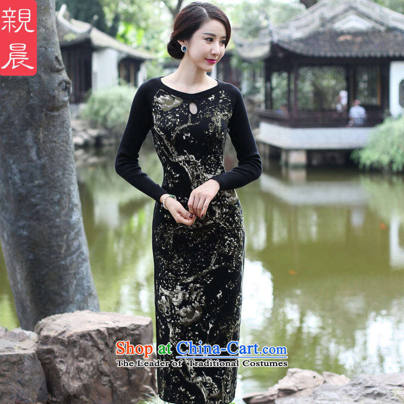 The cheongsam dress 2015 Fall_Winter Collections new improved long-sleeved female daily stylish woolen knitted long antique dresses black�L
