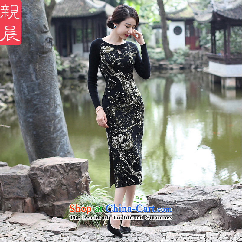 The cheongsam dress 2015 Fall/Winter Collections new improved long-sleeved female daily stylish woolen knitted long antique dresses black聽2XL, pro-am , , , shopping on the Internet