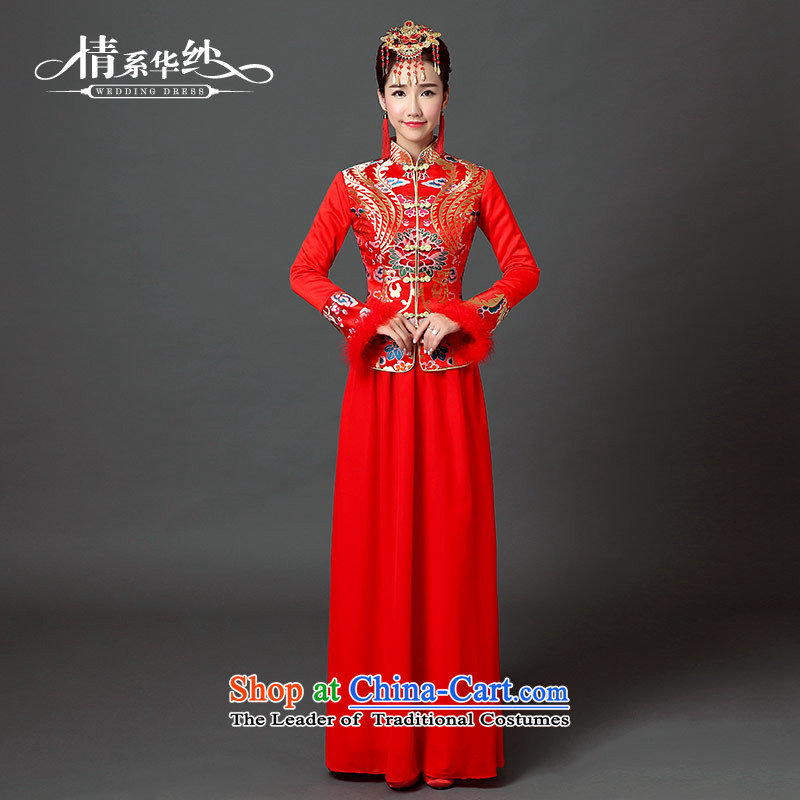 Wedding dress of autumn and winter 2015 new retro embroidery China wind bride bows welcome banquet warm cheongsam wedding dress folder_ do size unit does not allow