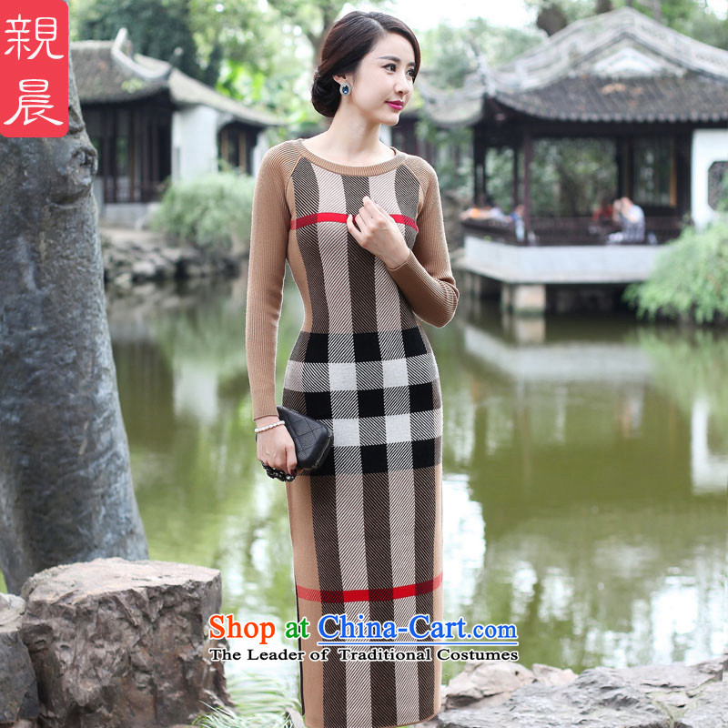 2015 Fall_Winter Collections cheongsam dress the new improved stylish girl long skirt daily retro long-sleeved woolen knitted and color�L