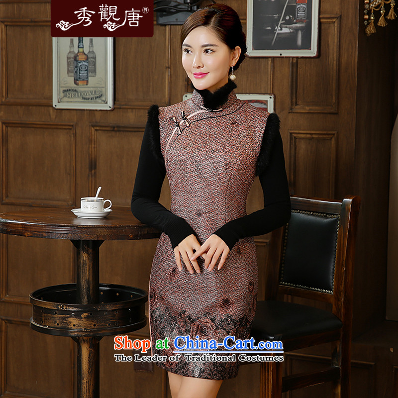 -Sau Kwun Tong- 2015 autumn and winter flower floating in the new Rose stamp warm gross for Sau San qipao QW51010 SUIT聽L