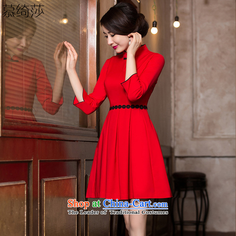 The Windsor is a cross-?2015 autumn and winter cheongsam dress with retro style improvement autumn cheongsam dress female China wind?HY6088 Female?Red?2XL