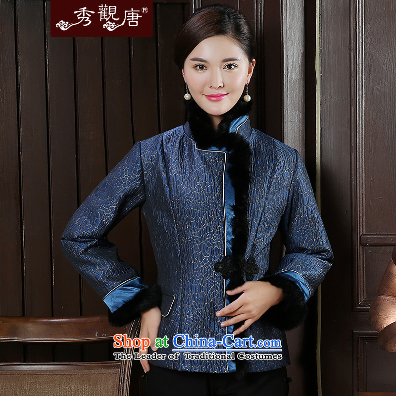 -Sau Kwun Tong- incense Athena autumn and winter 2015 new short, Tang Jacket coat two colors to TC51015聽3XL blue