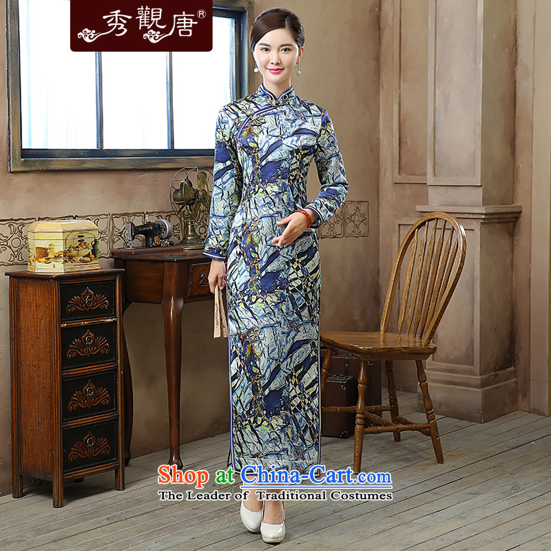 -Sau Kwun Tong- crystal blue autumn and winter 2015 New Silk Cheongsam QC51001 long stamp suit燲L
