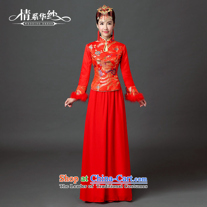 Qing Hua yarn wedding dresses qipao 2015 New Chinese retro-thick cotton autumn and winter brides folder bows Phoenix Yingbin cheongsam red?L