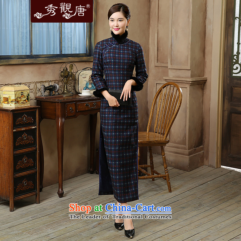 -Sau Kwun Tong- mini-on 2015 autumn and winter new retro latticed warm gross for long qipao QC5903 folder suit聽XL