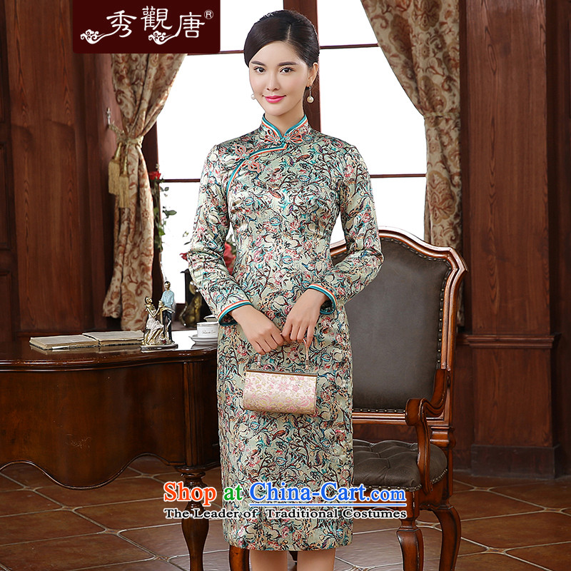 -Sau Kwun Tong- twist of a floral 2015 autumn and winter new upscale silk stylish saika qipao QC51005 folder suit聽XL
