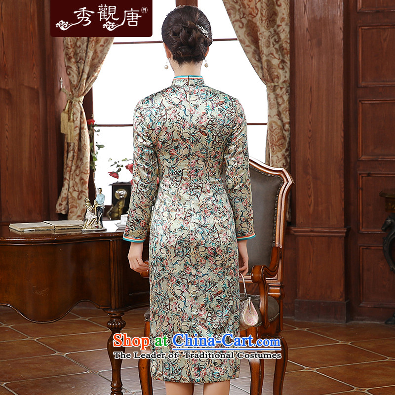 [Sau Kwun Tong] twist of a floral 2015 autumn and winter new upscale silk stylish saika qipao QC51005 folder suit聽XL, Sau Kwun Tong shopping on the Internet has been pressed.