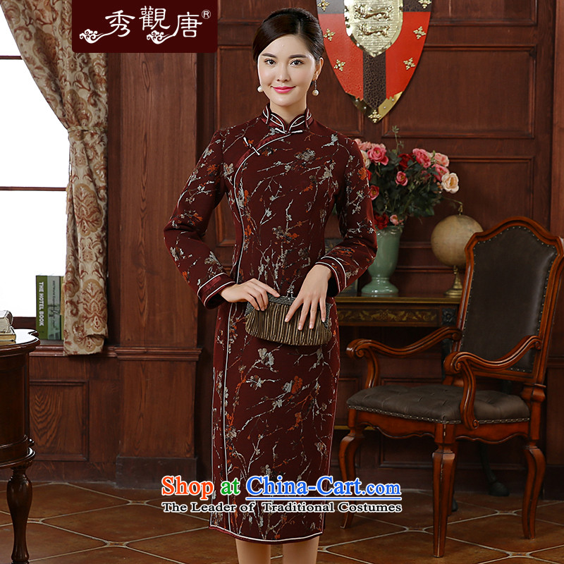 -Sau Kwun Tong- Che Qinyang Heung 2015 autumn and winter in new long stylish stamp qipao QC51007 dark red聽XL