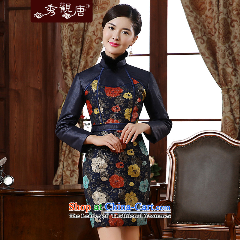 -Sau Kwun Tong- ice sexy women 2015 autumn and winter new stylish stamp warm lapel qipao QC51004 gross suit聽XXL