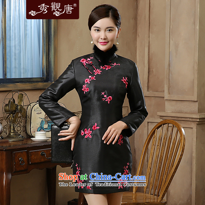 -Sau Kwun Tong- Heung 2015 autumn and winter new spirit exquisite embroidery warm qipao QC51003 gross for Black聽XL