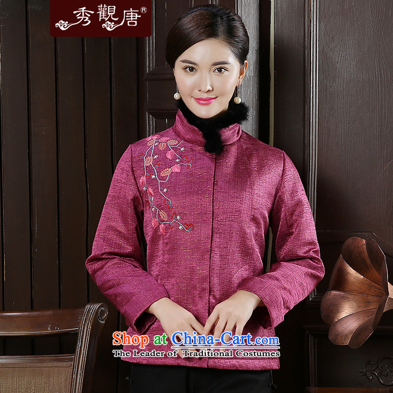 -Sau Kwun Tong- umeka spirit for autumn and winter 2015 new exquisite embroidery warm jacket for the gross Tang TC51016 PEACH聽XL