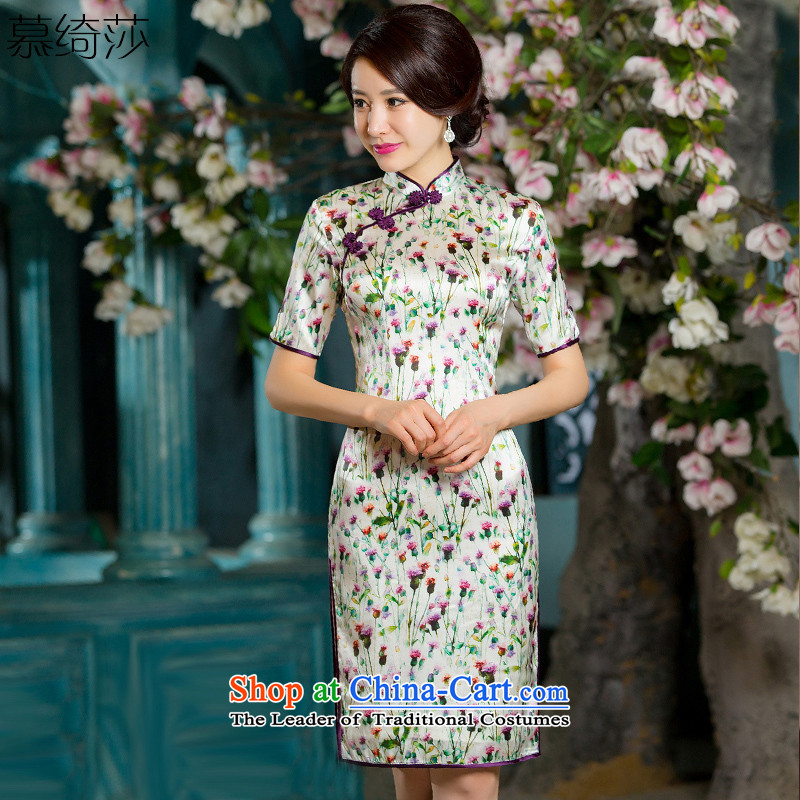 The cross-sa Lok Ying 2015 heavyweight Silk Cheongsam autumn herbs extract improved retro fitted cheongsam dress in the new improved qipao HY667 Ms. cuff picture color XL