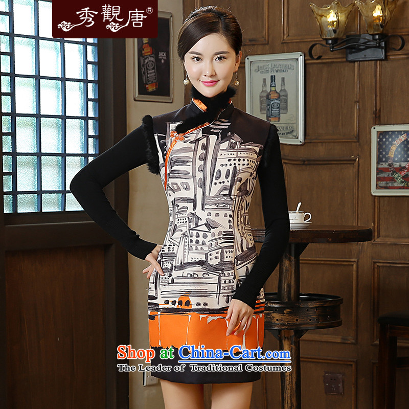 -Sau Kwun Tong- Jun-filled 2015 autumn and winter new warm modern stamp   Gross qipao QW51011 SUIT燣