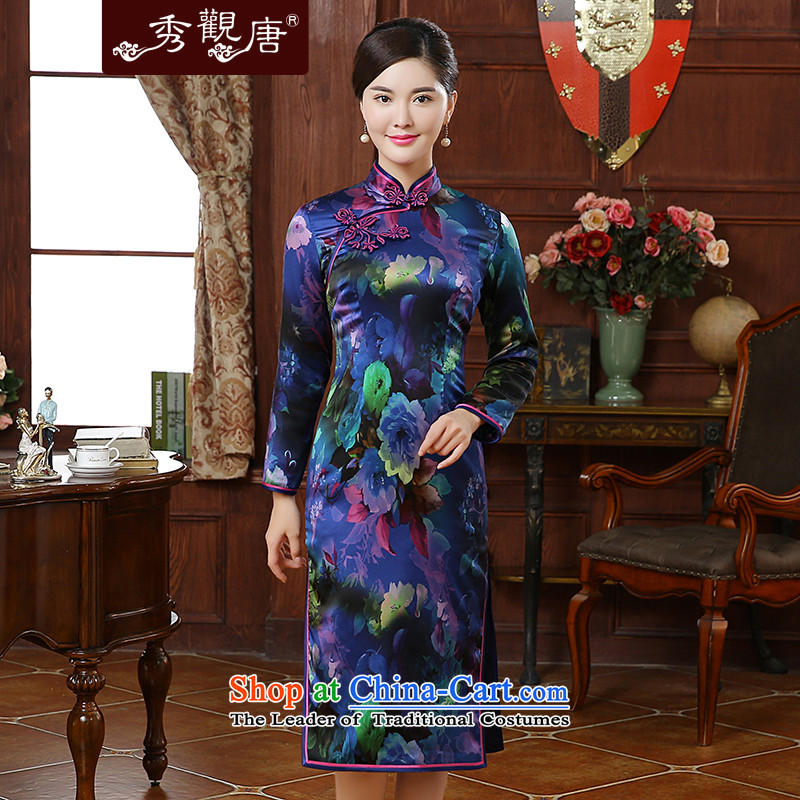 -Sau Kwun Tong- Ice Blue 2015 autumn and winter new stylish stamp high-end Silk Cheongsam QC51006 in long suit聽XL