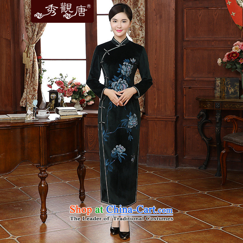 -Sau Kwun tong yi- Mudan 2015 autumn and winter new stylish peony stamp long dresses qipao QC51009 emerald-燬