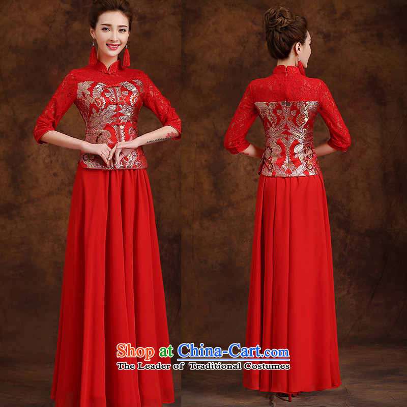 The new 2015 wedding dresses marriages cheongsam red long drink service improvement autumn and winter, Retro Spring Red 1燤