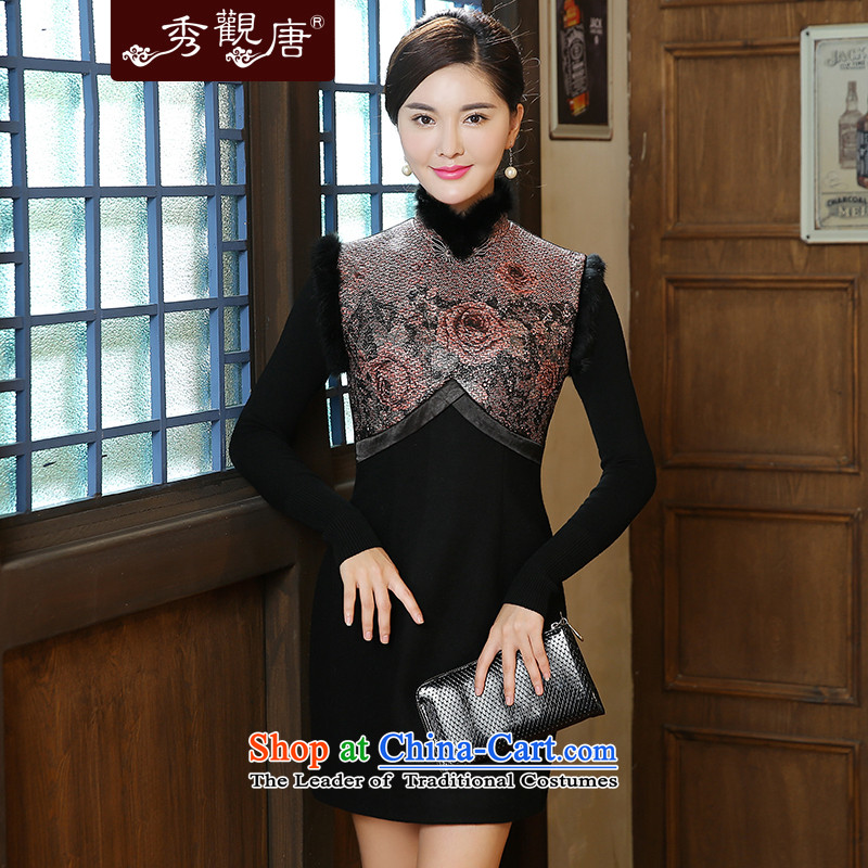 -Sau Kwun Tong- it in 2015 autumn and winter new warm gross style stamp stitching qipao QW51013 Sau San聽S Suit