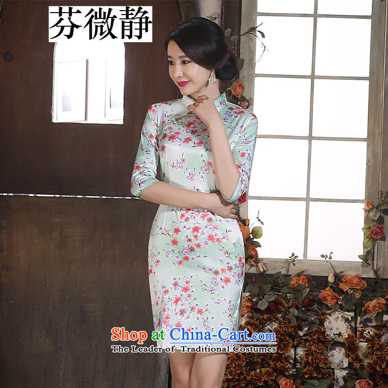 Leung Ching-day improvement of the Sau San micro-collar 7 cuff silk low short of the forklift truck qipao and package the skirt will show green dress flower燣