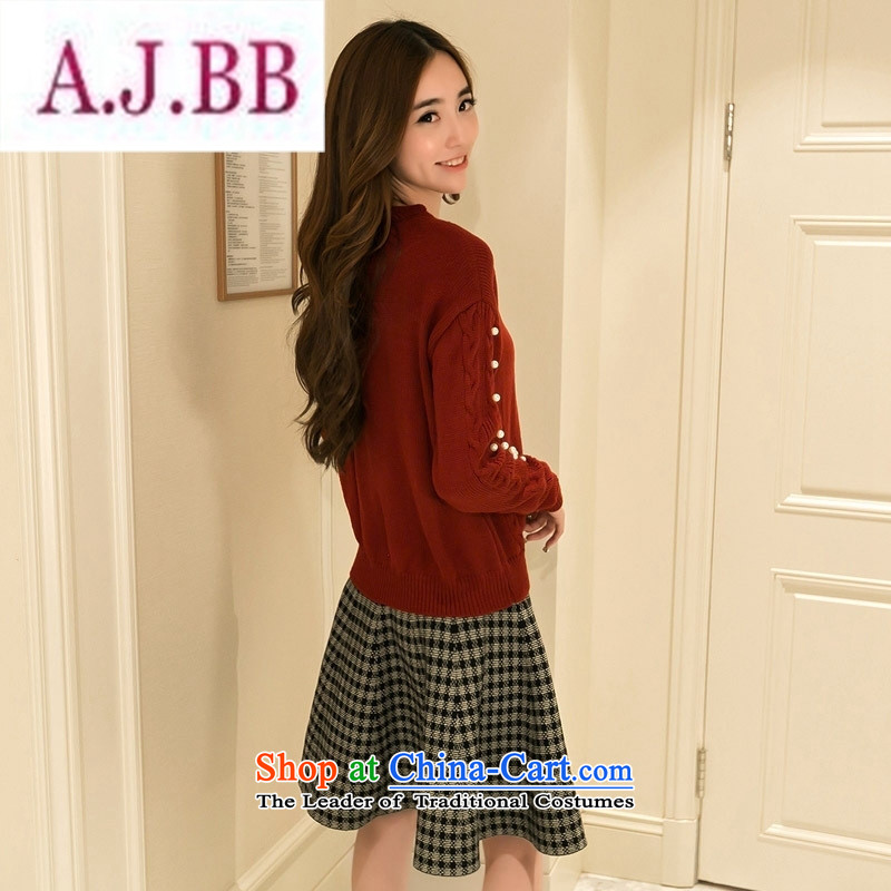 Ms Rebecca Pun stylish shops fall 2015 Women's clothes temperament elegant graphics thin new knitting sweater two kits plaid A skirt are Code Red