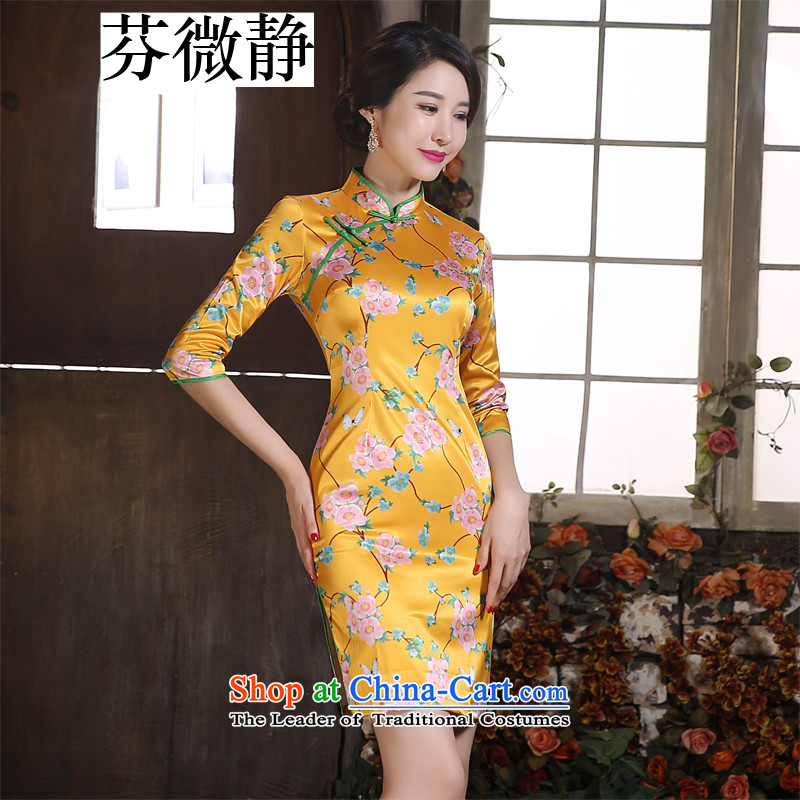 Leung Ching-day improvement of the Sau San micro-collar in the Cuff silk short of Sau San opened fork qipao dresses company banquet Gala Evening Dress Wong Tai Hua聽XL