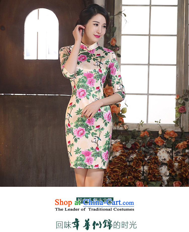 Leung Ching-to-day in-improved long-sleeved low of the forklift truck and package skirt cheongsam dress annual banquet performances dress Singing Birds and Fragrant Flowers燲XL