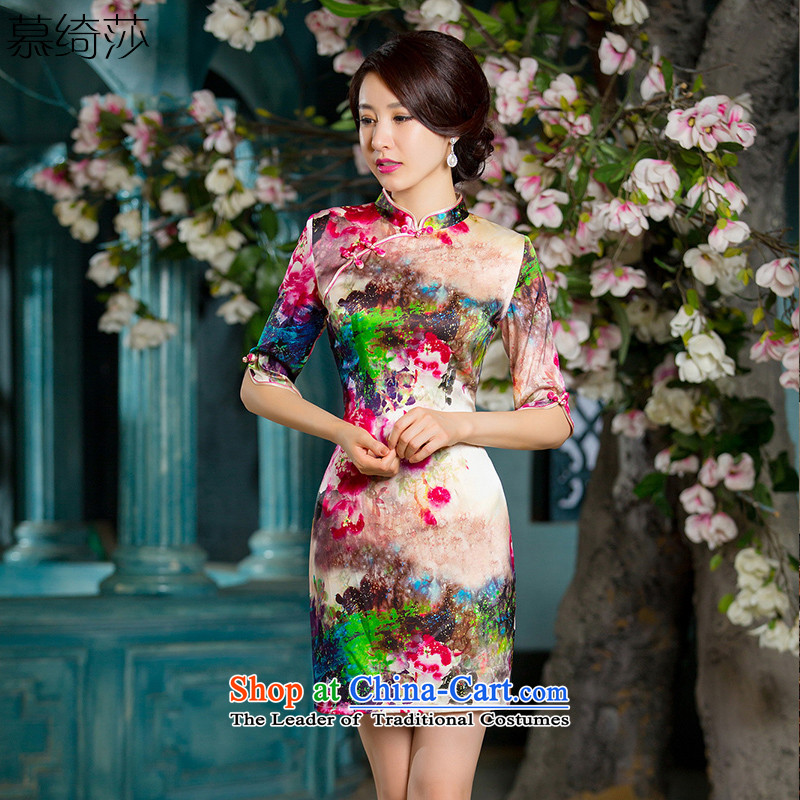 The cross-sa rendering�15 heavyweight silk cheongsam dress qipao load autumn improved new retro style, cuff cheongsam dress燞Y628A female爌icture color燬