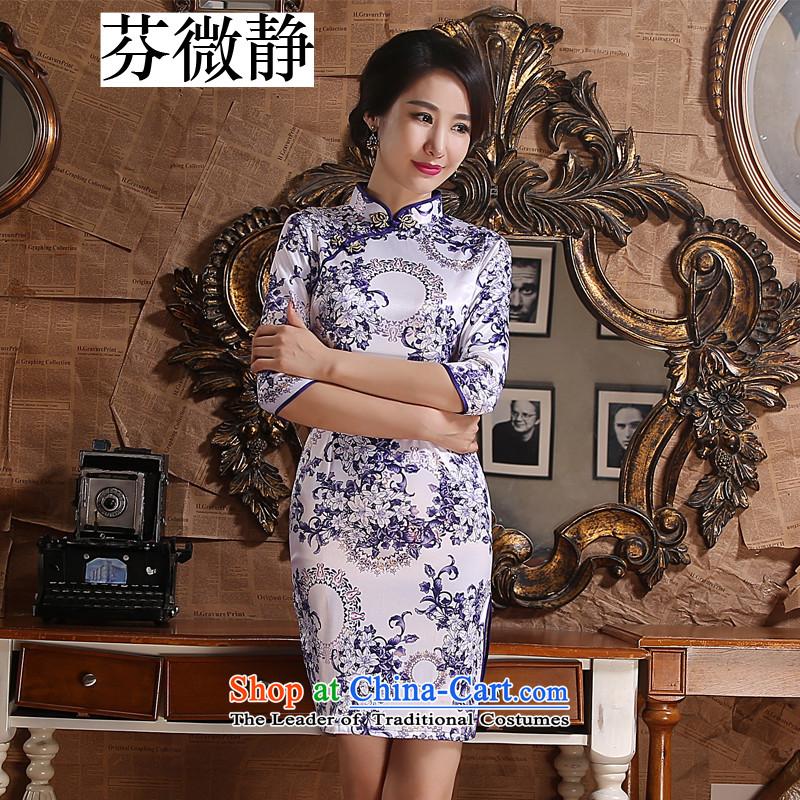 Stephen micro-ching classic improved daily Mock-neck 7 retro-sleeved Silk Cheongsam. The forklift truck low dresses annual concert banquet blue dress love燣
