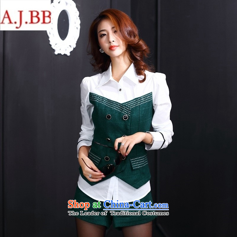 Orange Tysan * European site with new autumn 2015 Sau San video thin stylish round-neck collar long-sleeved blouses temperament and sexy shorts two kits green M