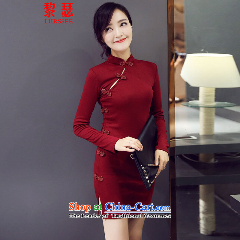 Joseph Lai China wind long-sleeved short skirts 2015 autumn and winter new sexy nightclubs Sau San package and a mock-neck cheongsam dress BOURDEAUX燬