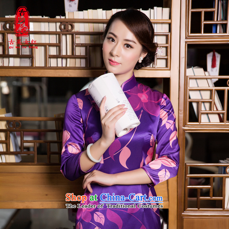 The Wu female red autumn and winter silk cheongsam dress with long of daily high-end, Sau San cheongsam dress mother load 7 Cuff purple燲L