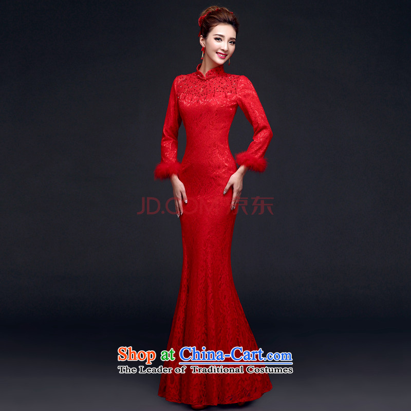 Toasting champagne served collar evening dresses long seven-sleeved bride wedding dress lace cheongsam dress female autumn and winter, red winter) -�M