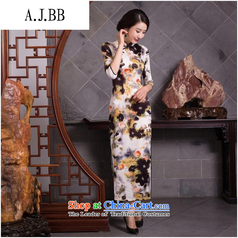 And involved new _2015 clothing cheongsam dress autumn and winter day-to-female retro improved stylish Sau San long silk cheongsam dress figure燲L